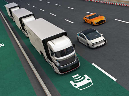lorry: Fleet of autonomous hybrid trucks driving on wireless charging lane. 3D rendering image. Stock Photo