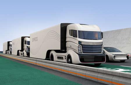 Flota de camiones híbridos autónomos conducir en el carril de carga inalámbrica. Representación 3D de la imagen.