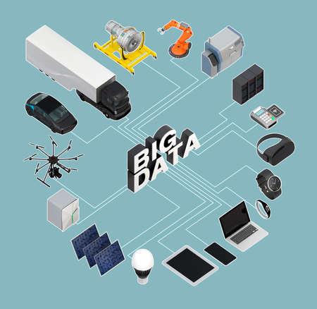 turbofan: 3D illustration of big data concept. Stock Photo