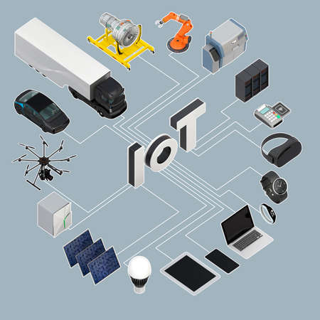 Concept of Internet of Things. 3D rendering image.