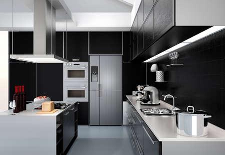 entre cocina moderna con electrodomésticos inteligentes en la coordinación de color negro. Representación 3D de la imagen.