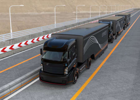 Peloton rijden van de autonome hybride vrachtwagens rijden op de snelweg. 3D-rendering afbeelding.
