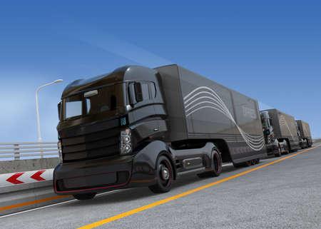 自律型ハイブリッド トラックの高速道路走行の運転を小隊します。3 D レンダリング イメージ。 写真素材
