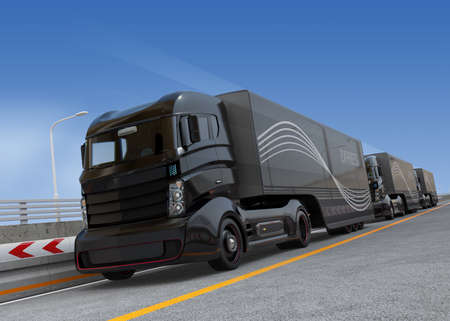 autobahn: Platoon driving of autonomous hybrid trucks driving on highway. 3D rendering image.