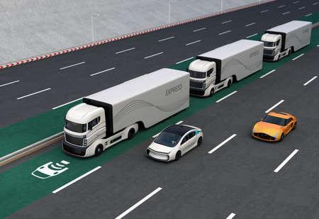 ciężarówka: Flota autonomicznych ciężarówek hybrydowych jazdy na pasie bezprzewodowego ładowania. 3D renderowanie obrazu. Zdjęcie Seryjne