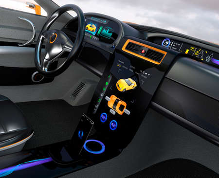 intelligent: Electric vehicle center display Interface concept. 3D rendering image.
