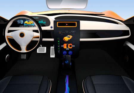 電気自動車センター表示インターフェースの概念です。3 D レンダリング イメージ。