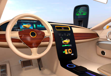 Electric vehicle center display showing charging information. 3D rendering image.