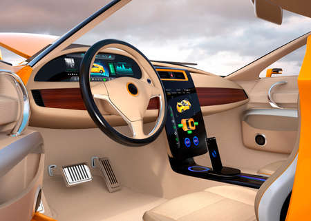 electric vehicle: Electric vehicle center display Interface concept. 3D rendering image.
