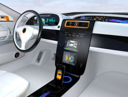 sensors: Electric vehicle automatic parking system interface concept. 3D rendering image.