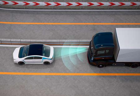 黒いトラックは自動ブレーキ システムによって高速道路で停止。3 D レンダリング イメージ。