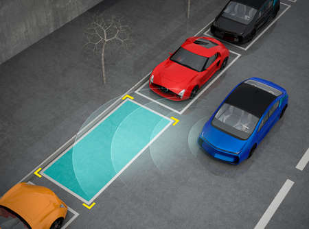 assist: Blue electric car driving into parking lot with parking assist system. 3D rendering image. Stock Photo