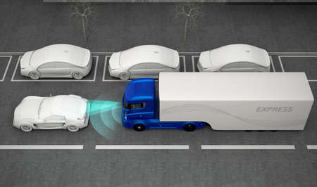 semi automatic: Blue truck stopped by automatic braking system. 3D rendering image.