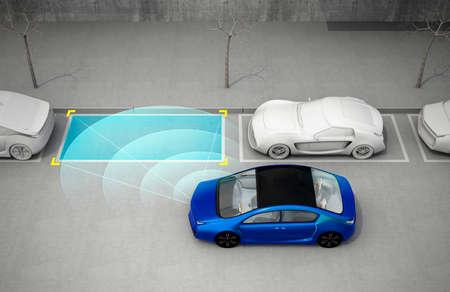 Blauwe elektrische auto rijden in de parkeerplaats met parkeerhulp-systeem. 3D-rendering afbeelding. Stockfoto