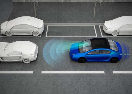 自動ブレーキ システムの概念。3 D レンダリング イメージ。