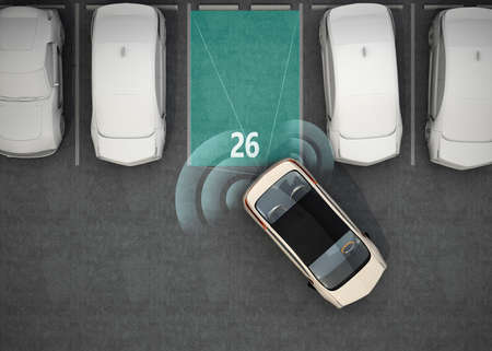 coche eléctrico blanco de conducción en el estacionamiento con sistema de asistencia de estacionamiento. Representación 3D de la imagen. Foto de archivo