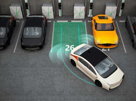 coche eléctrico blanco de conducción en el estacionamiento con sistema de asistencia de estacionamiento. Representación 3D de la imagen.