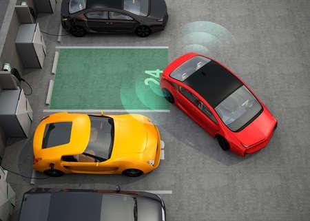 coche eléctrico rojo de conducción en el estacionamiento con sistema de asistencia de estacionamiento. Representación 3D de la imagen.