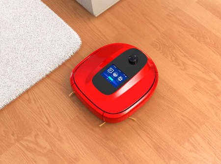 flooring: Red robotic vacuum cleaner moving on flooring. 3D rendering image. Stock Photo