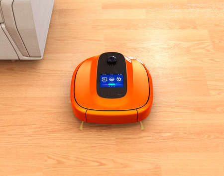 flooring: Metallic orange robotic vacuum cleaner on flooring. 3D rendering image.
