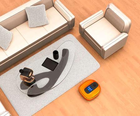 flooring: Robotic vacuum cleaner moving on flooring. 3D rendering image.