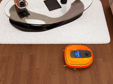 flooring: Robotic vacuum cleaner moving on flooring. 3D rendering image.