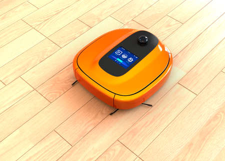vacuum cleaner: Metallic orange robotic vacuum cleaner moving on flooring. 3D rendering image.