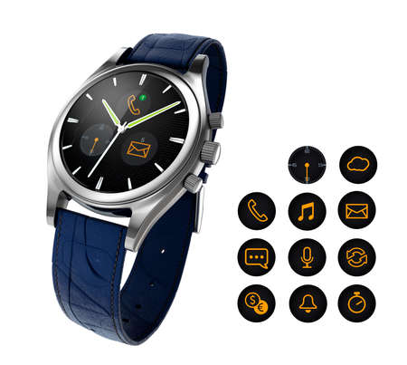 wristband: Analog wristwatch with digital touch screen, blue leather wristband. Notification icon available. 3D rendering image