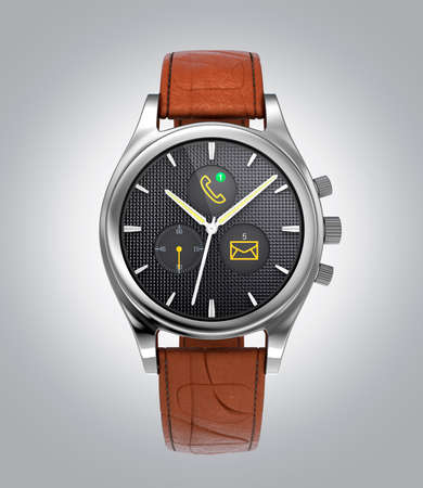 wristwatch: Front view of analog wristwatch with digital touch screen, and brown leather wristband. 3D rendering image Stock Photo