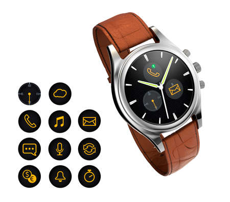 wristlet: Analog wristwatch with digital touch screen, brown leather wristband. Notification icon available. 3D rendering image