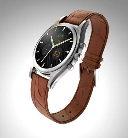 wristwatch: Analog wristwatch with digital touch screen display notifications like coming call, mail, etc. Smart watch concept.