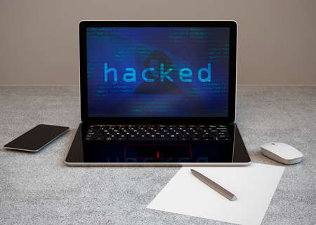 Laptop computer under hackers attack. Computer security concept. 3D rendering image. Stock Photo