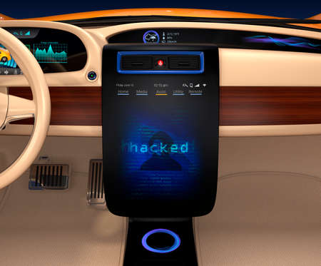 hack: Vehicle console monitor showing screen shot of computer system was hacked. Concept for risk of self-driving car. 3D rendering image.