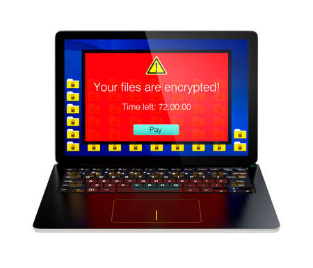 Screen of laptop computer showing alert that the computer was attacked by ransomware. 3D rendering image with clipping path. 스톡 콘텐츠