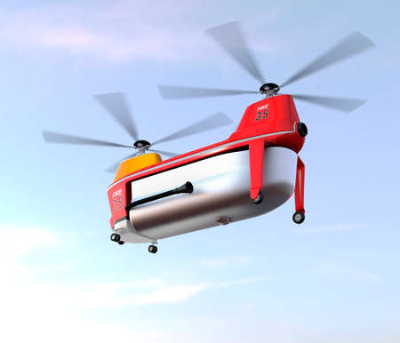 unmanned: Fire fighting drone flying in the sky. Original concept design. 3D rendering image.