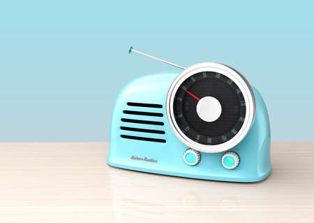 retro radio: Pastel blue retro style radio isolated on light blue background. 3D rendering image