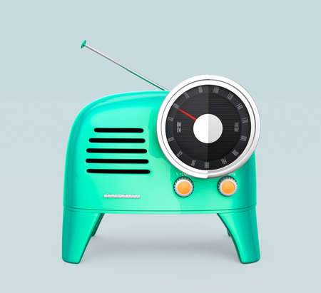 analog dial: Emerald green retro style radio isolated on light gray background. 3D rendering image