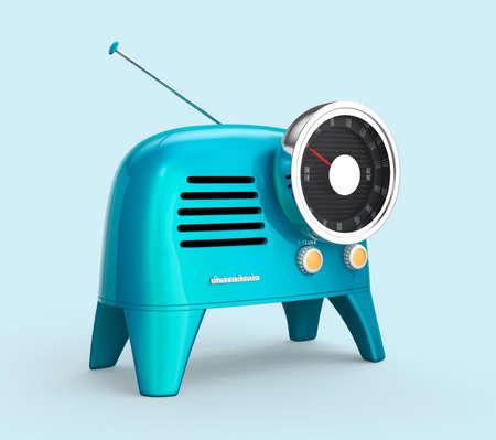 analog dial: Blue retro style radio isolated on light blue background. 3D rendering image Stock Photo
