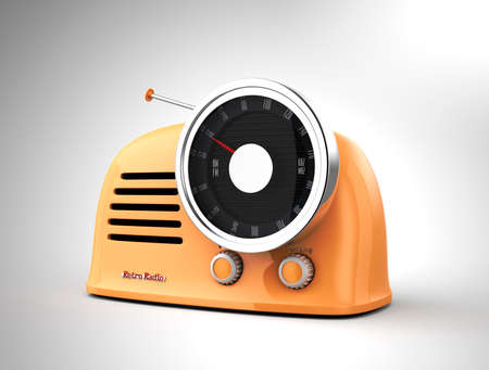 program: Light yellow retro style radio isolated on light gray background. 3D rendering image Stock Photo