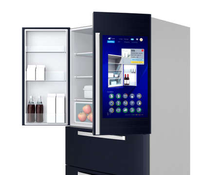 Smart refrigerator concept. User can manage food or purchase new one by touch screen interface. 3D rendering image.
