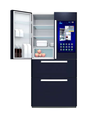 touch: Front view of smart refrigerator. User can manage food or purchase new one by touch screen interface. 3D rendering image.