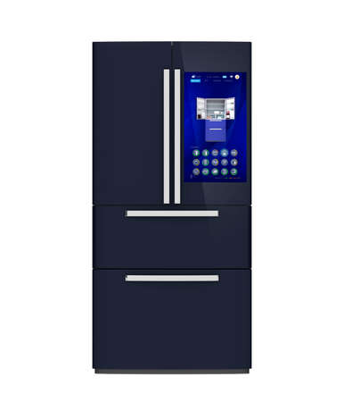 touch screen interface: Front view of smart refrigerator. User can manage food or purchase new one by touch screen interface. 3D rendering image.