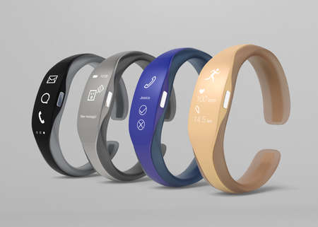 rubber band: Smart bands with rubber bracelet. 3D rendering image