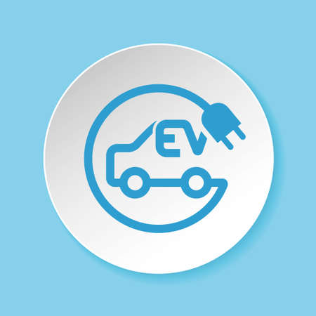 Electric car and plug symbol for EV charging spot concept Stock Illustratie