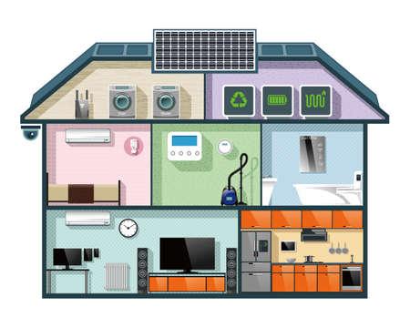 スマート ホーム オートメーション コンセプトのエネルギー効率の高い家断面図イメージです。ベクトルの図。