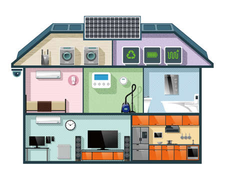 Energy efficient house cutaway image for smart home automation concept. Vector illustration.