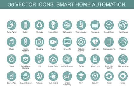 Icone di vettore per domotica intelligente.