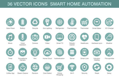 homes: Vector icons for smart home automation.