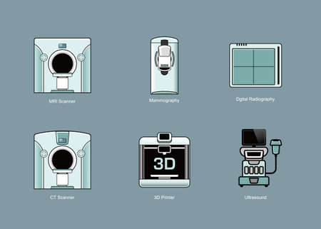 x ray equipment: Medical modality icon sets. Vector illustration. Illustration