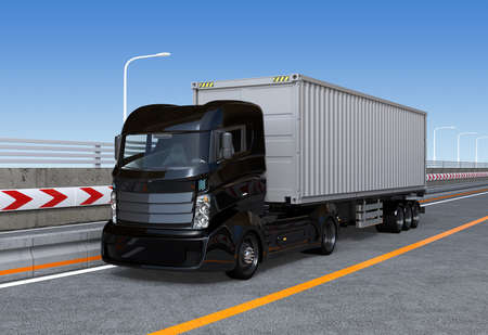 truck on highway: Black container truck on the highway. 3D rendering image.